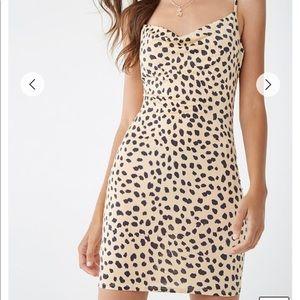 Cheetah Print Cowl Neck Dress